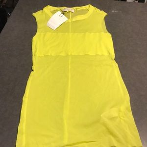 NWT Zara Mesh Tank bright yellow tank top Medium